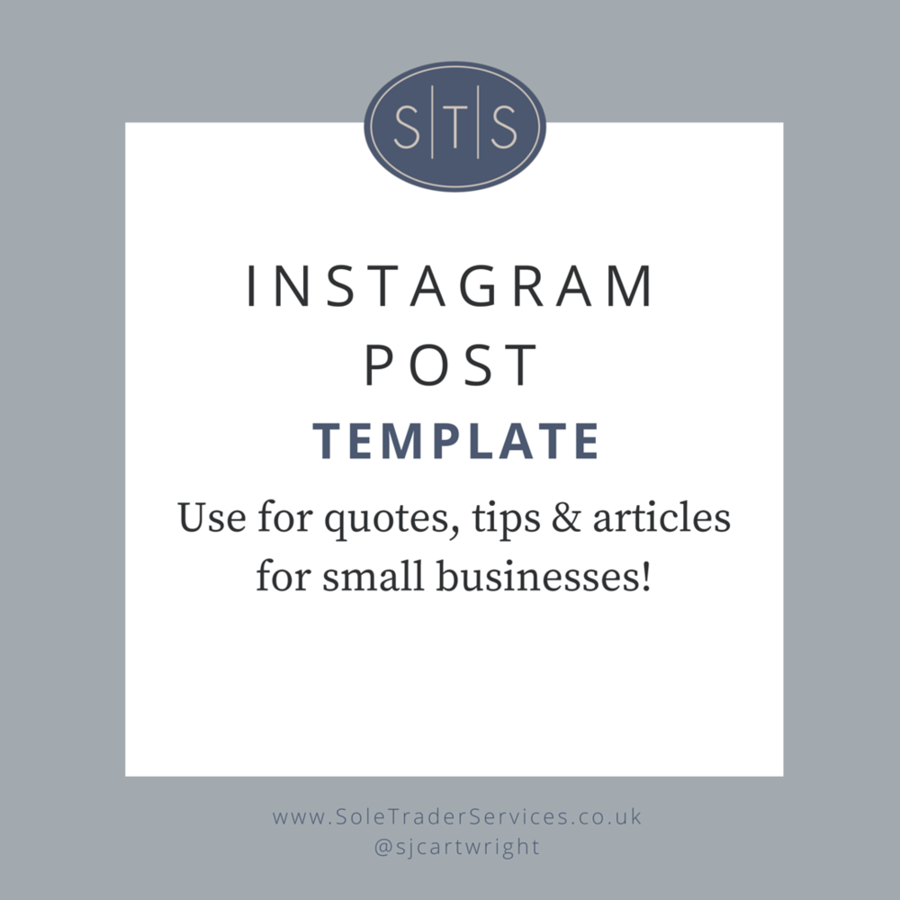 Instagram post template for Sole Trader Services
