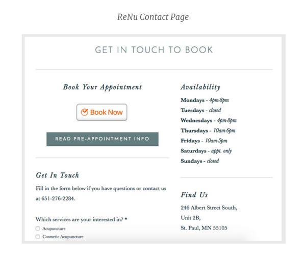 ReNu Contact page