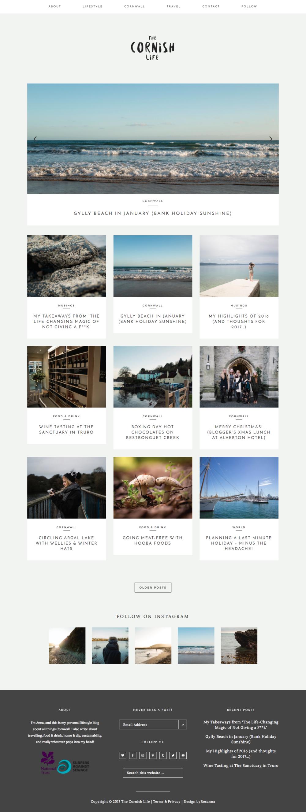 The Cornish Life Website Design | byRosanna