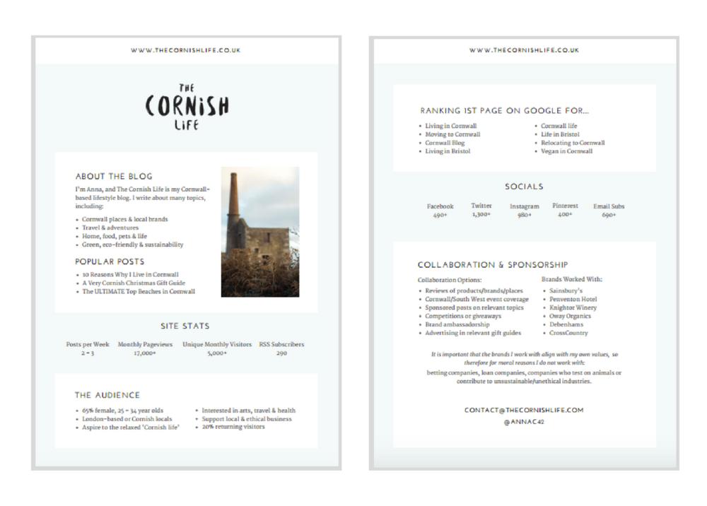 The Cornish Life Media Kit Design | byRosanna