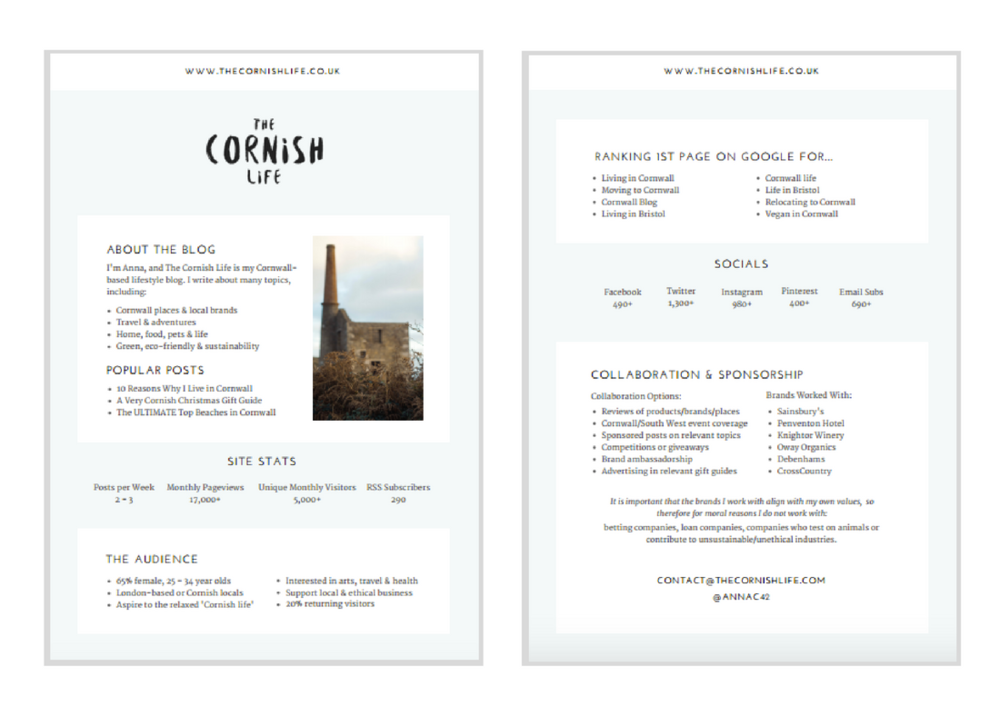 The Cornish Life Media Kit | byRosanna
