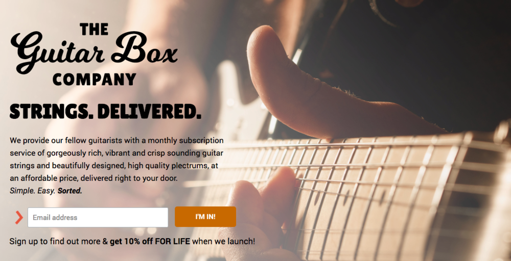 ^ On the  Guitar Box Company  website, the Call to Action (email sign up) is right at the top of the page, because their top goal is to collect email addresses of interested customers.