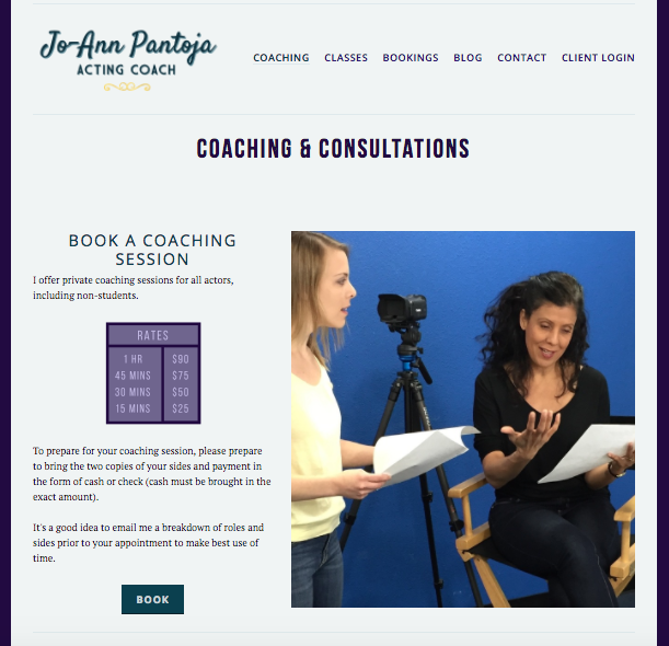 ^ On  JoAnn Pantoja's  website, we are on her 'Coaching' page, and the first thing you see is a Call to Action to book. Then as you scroll down there is more information and another CTA at the botton of the page to 'Book' as well.