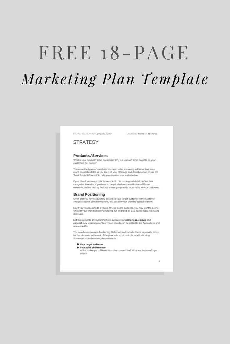 Free Marketing Plan Template!