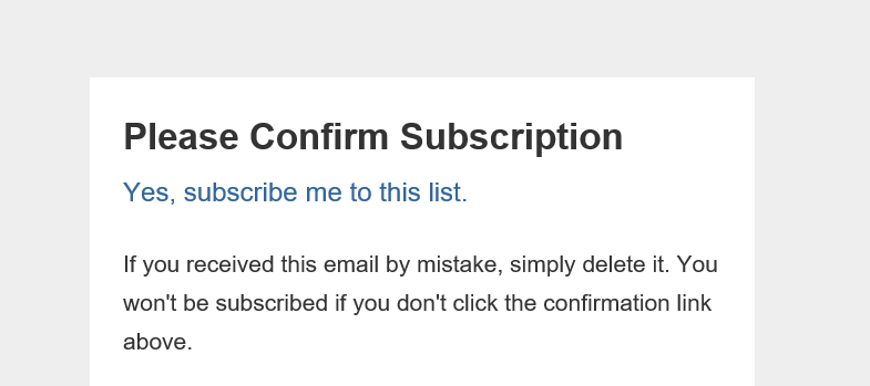 A basic, un-branded confirmation email