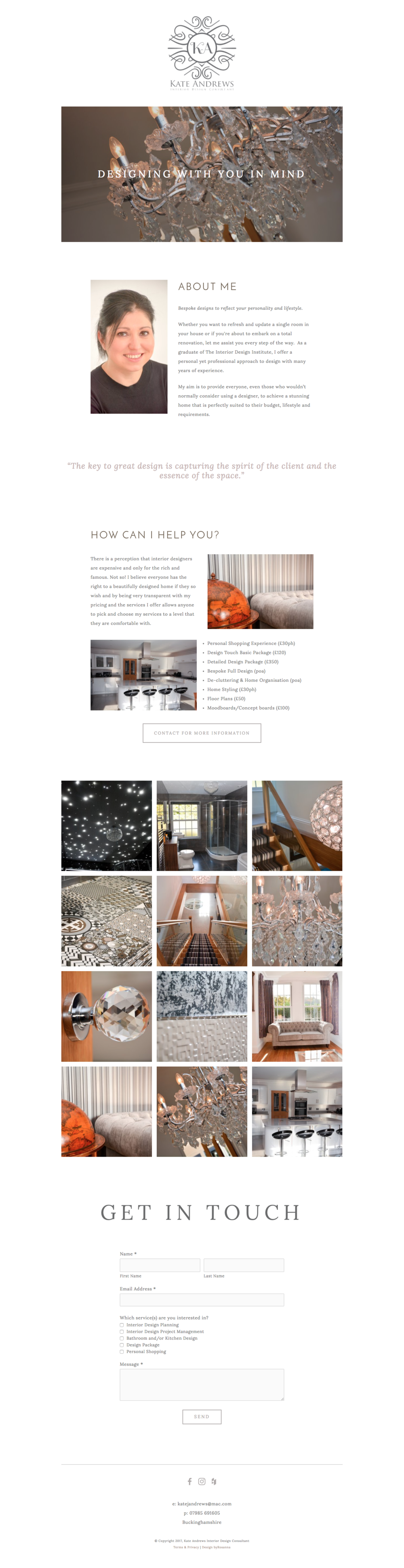 Kate Andrews Interior Design website design in Squarespace | byRosanna