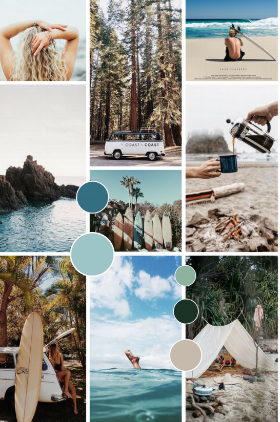Anchor & Sea | Surf brand | Blue natural earthy moodboard | byRosanna