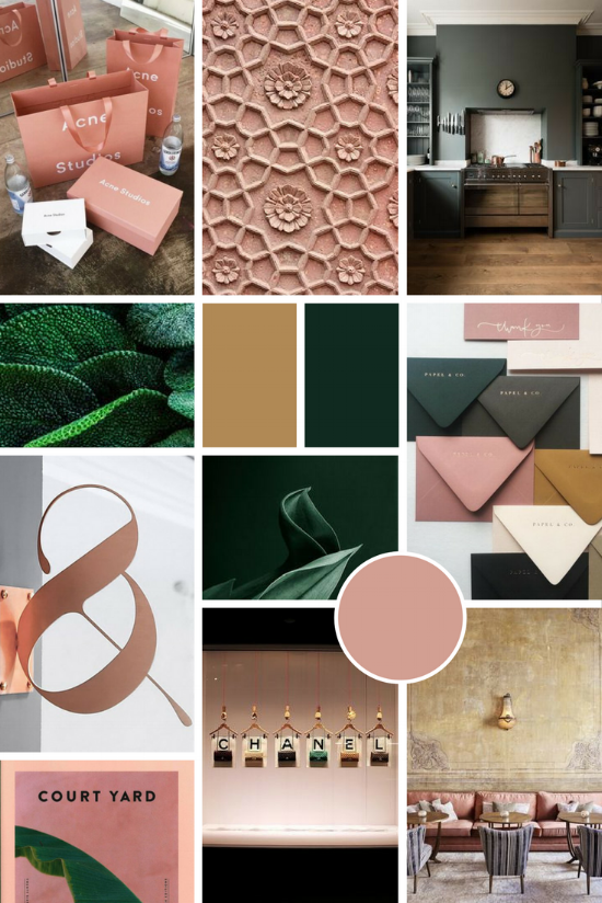 Rose gold, mustard and green moodboard | Tracy Short & Co. branding | byRosanna