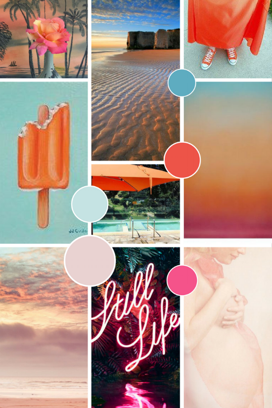 Margate Editions Moodboard | Colourful sunset neon orange pink and blue palette | byRosanna