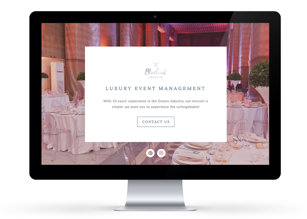 Landing page design in Squarespace