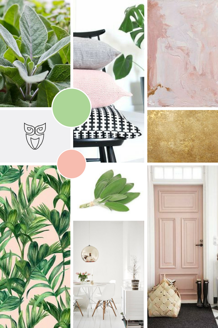 Green and pastel pink Moodboard for Sage Psychology