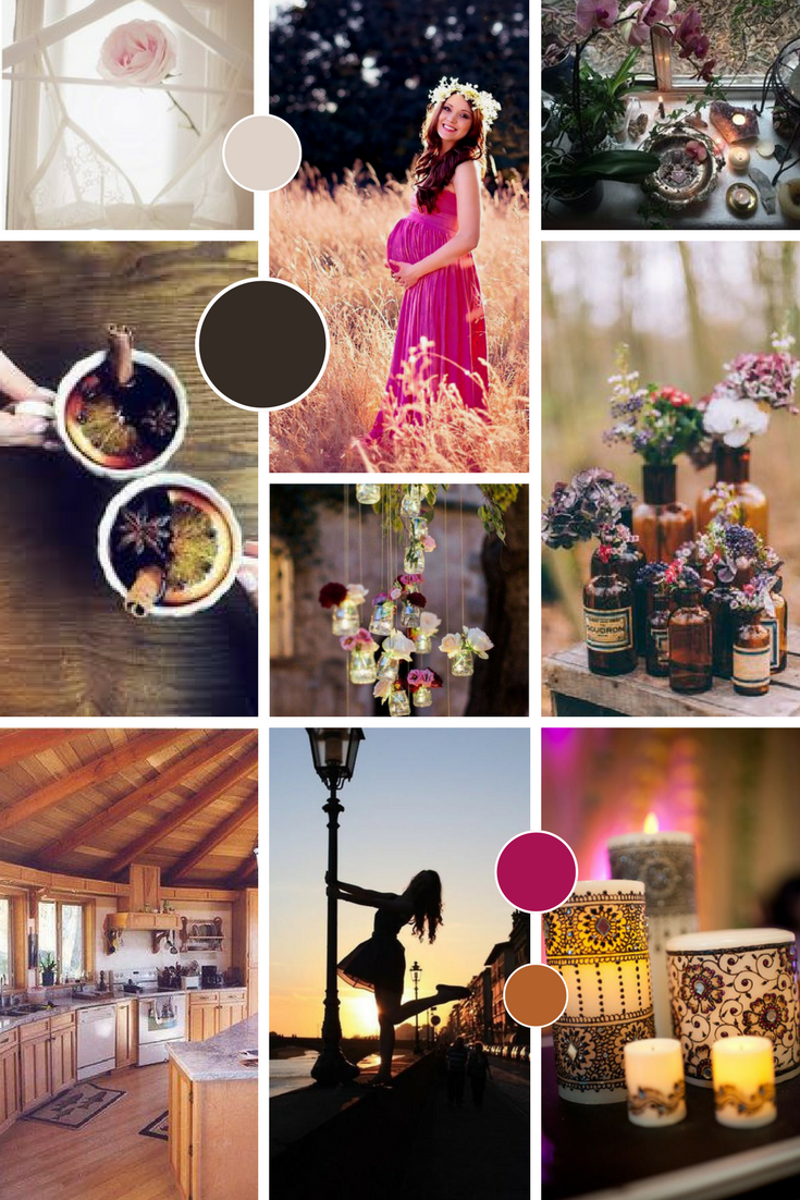 Rich pink and earthy colour palette brand moodboard
