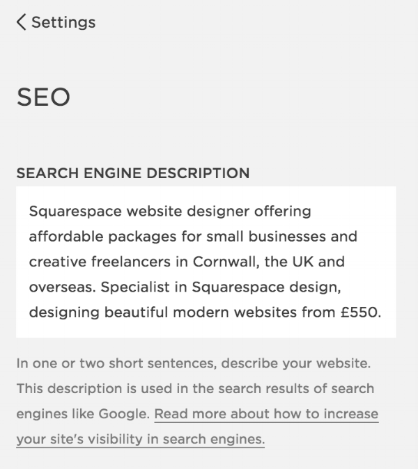 Search engine description in Squarespace