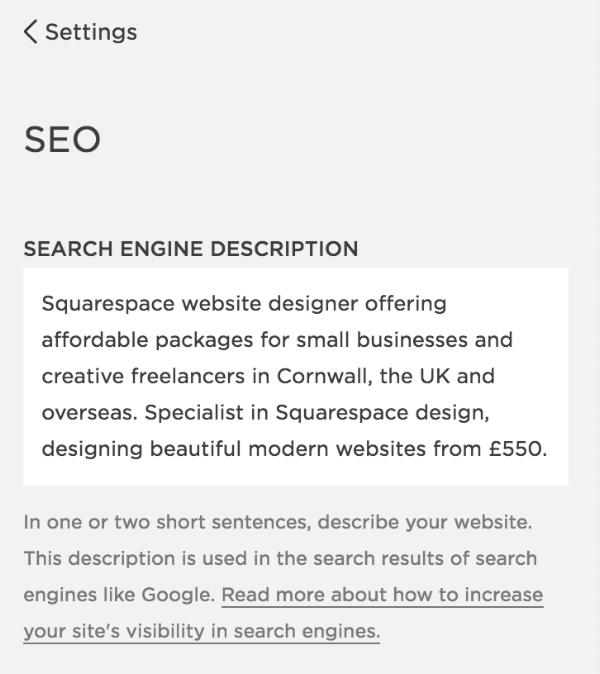 Search engine description in Squarespace