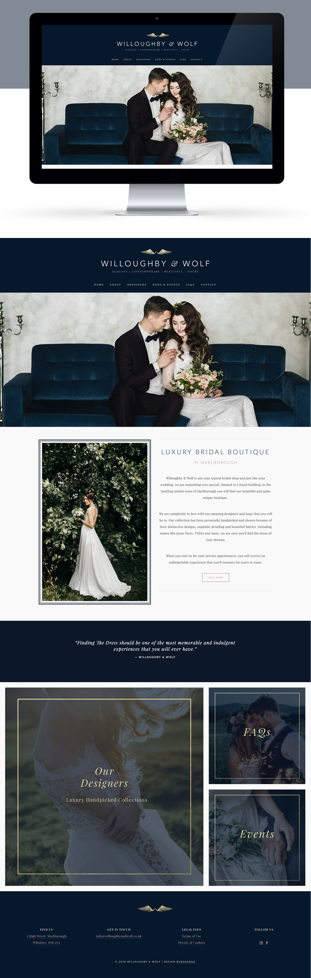 Willoughby and Wolf Squarespace website design