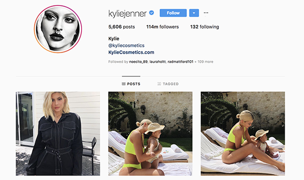 Kylie Jenner influencer on Instagram