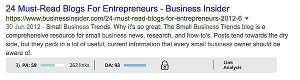 The MozBar extension tells you a website's DA from within Google's rankings!