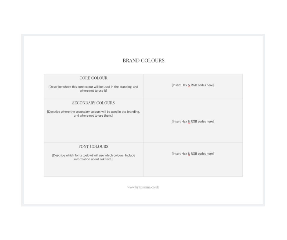 Brand Guidelines document template