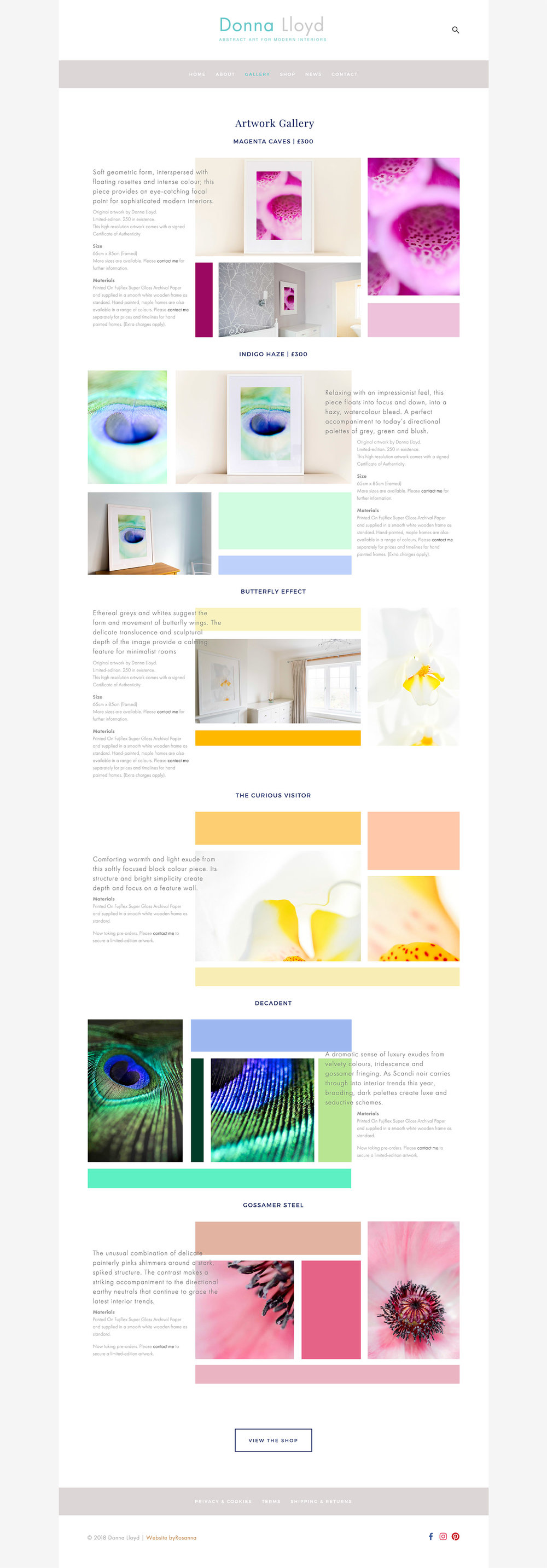 Website design in Squarespace
