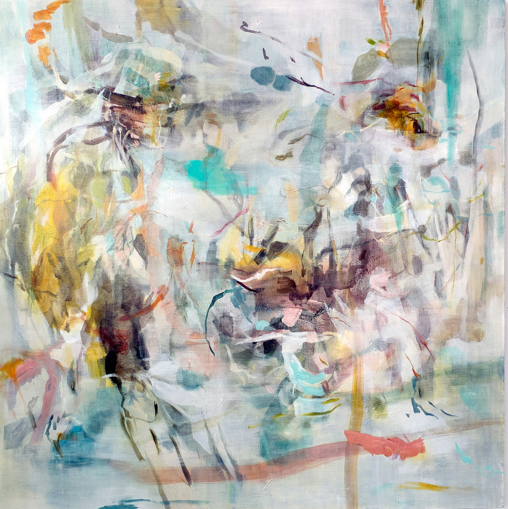 "Oil and wax on canvas  62"" X 62"""