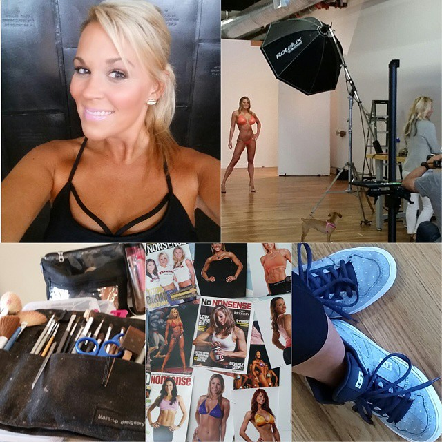 Love #teamfitbody shoot days! Hotties in bikinis, two of my fav production people and i get to wear kicks and workout clothes to work!!! #lohrestudios #julielohre