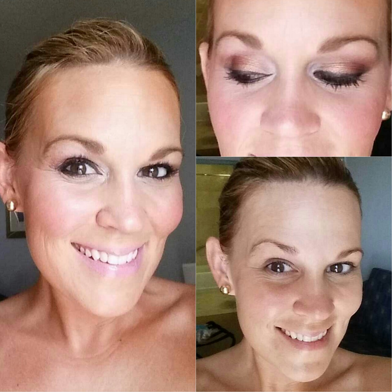 "I have ladies ask all the time how I do my makeup personally. Well here's to bearing it all in the new year. Bottom right is me with NO makeup on and left is makeup after 15 min. NO FILTER or NO fake lights, all natural light in SAME spot in my hotel. No tricks here…just TRUTH. My ""polished bronze"" look. I can do multiple looks with same products in my bag.     Here is what is in MY bag….  (all prices are approximately, not sure exact value)  Primer: Michelle Phan .em Smoothing Face Primer  ($40)  Eye Primer: Urban Decay Primer Potion ($22)  Shadow: Two Faced ""Cat Eyes"" mini pallette ($36)  Brow Pencil: Jordana ""FAbuBrow"" in taupe ($2.99)  Liner: Fergie by Wet and Wild in little black dress ($4)  Mascara: Essence ""Get Big Lashes"" in waterproof black ($3.99)  Foundation: NYX Stay Matte ($10)  Concealer: NYX waterproof concealer ($5) Bronzer: Tarte  Matte Bronzer ($32)  Highlighter: used the highlighter in the eyeshadow pallete   Lip Gloss: NYX Lip Butter Gloss in Merengue ($5)    Sounds like a lot but it actually isnt. Fits in a tiny Stella and Dot bag easily. Most of tge stuff i use is cheap but good quality and paired with medium priced items. It doesn't take a lot of time or money to put the best YOU out there!!    For  some GLOSSA GIRL TIME a personalized intructional experoence and product suggestion…call us for a makeup lesson in studio, in home or group!      www.glossamakeup.net      Xoxo,  L"