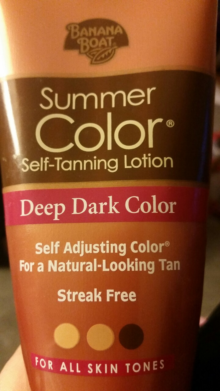 "Needing a little summer color in this frozen tundra. This is the absolute BEST self tanner. I just did a shoot with Miss Ohio USA and commented on her beautiful golden tan and she said ""oh thanks it's just Banana Boat"". I was like no way I have used that one for like 10 years!!! You CAN ONLY get it at walmart to my knowledge. Here is WHY it's the best… 1. Doesn't smell weird while using or after 2. Goes on even 3. It's moisturizing 4. It doesn't wear off at all  5. You can layer it according to your color 6. It's quick….results after 1 application  7. Very brown color, never orange  NOW that we have that covered…here is a few tips on application. * Shower before use * Use in evening * shave and exfoliate right before use  * use a scrub that isn't oily * start with the legs and work your way up putting the largest portion on legs, torso and arms and slightly rubbing into the feet, hands and face *wash hands well immidiately after use * let sit overnight and apply another layer in morning. By evening you will have a nice color. * when you shower immidiately after use make the showers quick and to the point. Avoid baths, soaking or shaving  That's it!!! I've used this one for about 10 years and I'm a severe tanorexic. I used to go to the tanning bed everyday in highschool. Now I use 50 SPF and get a spray tan OR go to my trusted sun in a bottle.   Cost: about $7.00 at Walmart   Enjoy! Xo L"