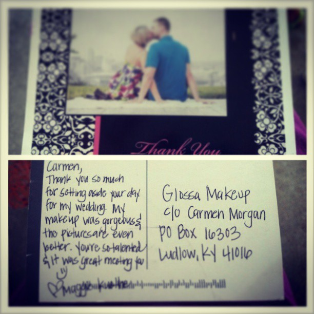 Another happy bride! What cute thank you cards those are! Awesome job Carmen as usual! : ) #glossagirls #prettyfacesforall