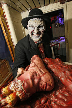 "Just in case you were missing Halloween….thought I would bring you a bit of horror.  I miss doing Halloween horror make up, I get to be so creative! This is a old foam prosthetic piece that I transformed into the ""butler"" of the USS Nightmare in Newport, KY last October. The following two photos are from the same haunted house.   XOXO -Lyndsey"