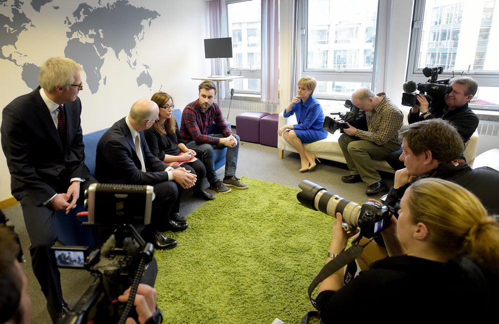 Michael Groves (Topolytics), Jude Cook (ShareIn) and Eddie Robb (Make It Social) with FM Nicola Sturgeon and DFM John Swinney