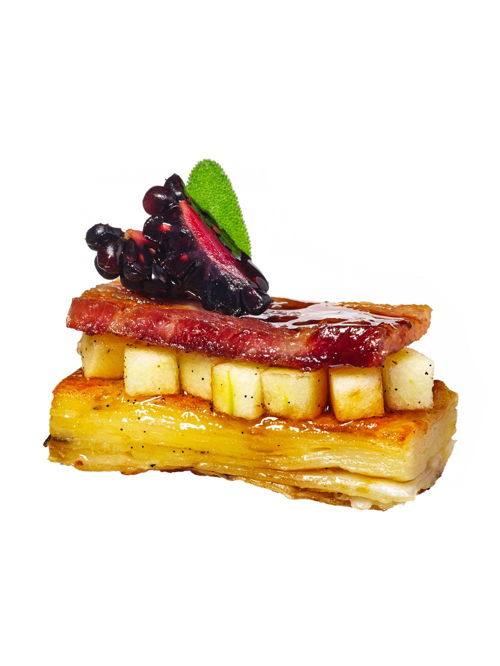 bacon + quince canapés