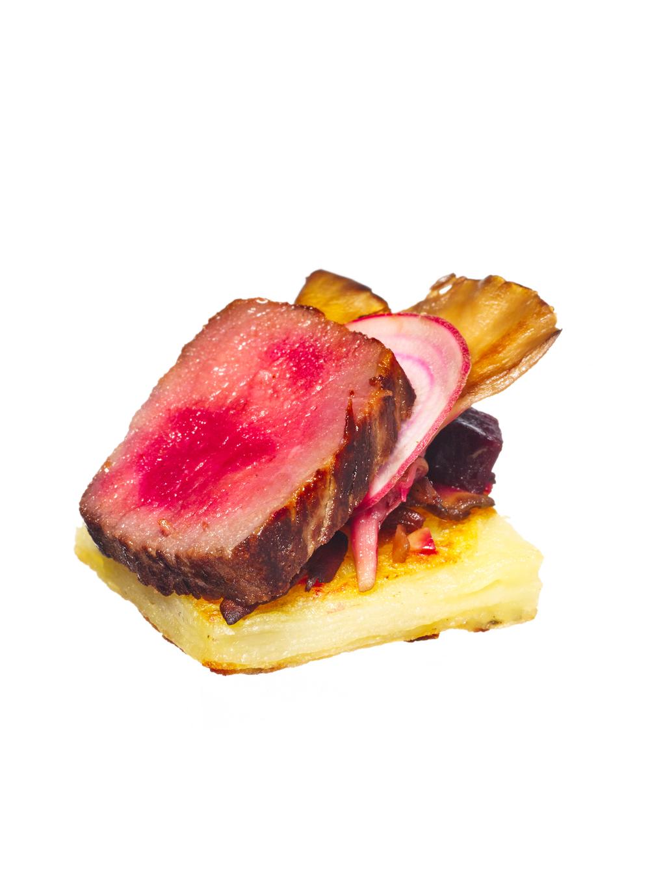 lamb loin + artichoke canapés
