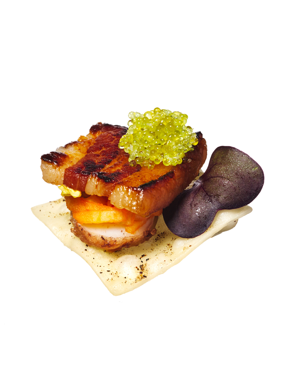 pork belly + quince canapés