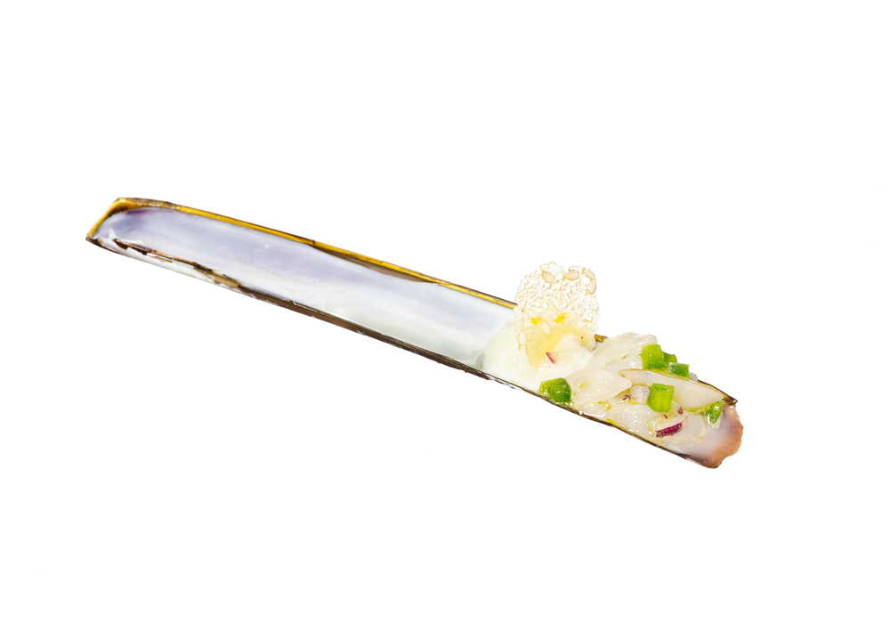 razor clam + wasabi sorbet canapés