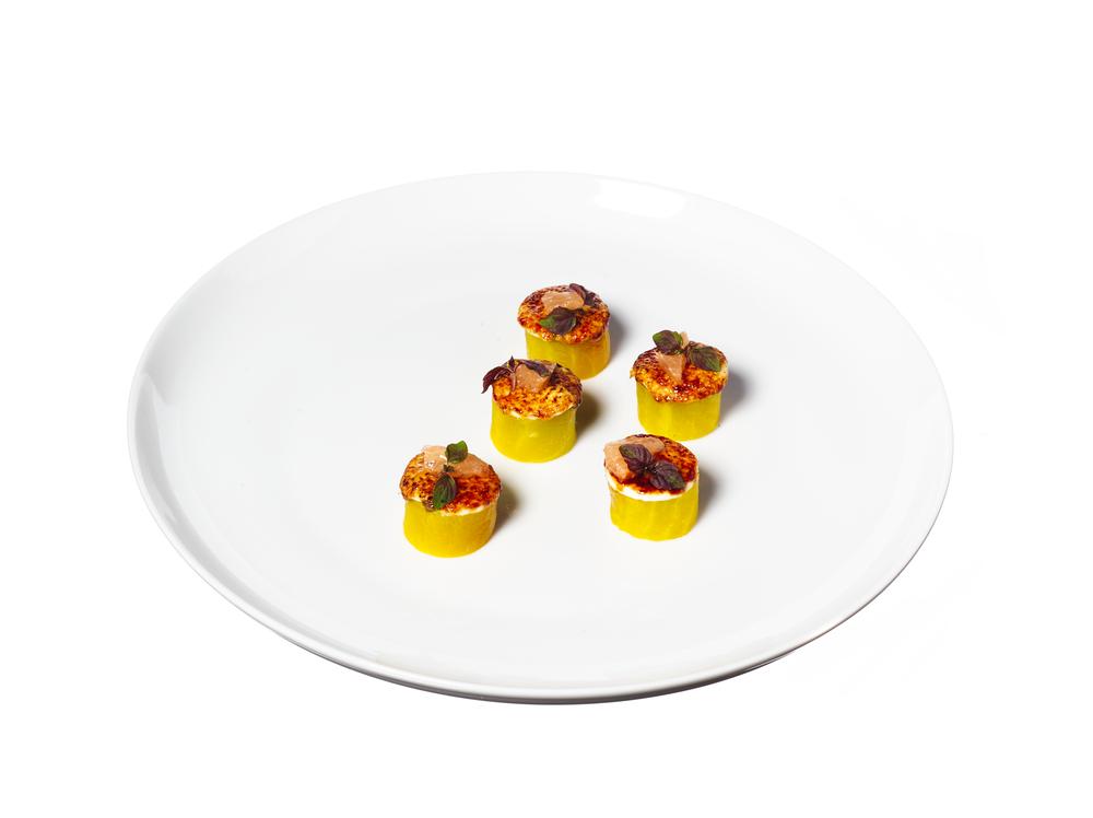 golden beets brulée, plated canapés