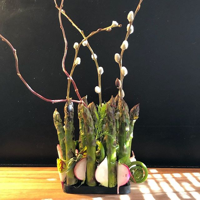 Ready for her close-up.  asparagus | radish | fiddlehead . . . . #bitenyc #catering #fooddesign #asparagus #fiddlehead #plating #architecture #feedfeed #foodstagram #foodgram #design @eater_ny @nyceats