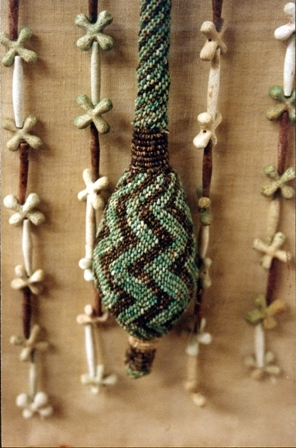 Detail of the beaded tail on a different apron preserved at the Egyptian Museum in Cairo as Catalogue No. 11206.  Image courtesy Jolanda Bos.To visit Jolanda's website, www.ancientbeadwork.com, click here. Jolanda also maintains a second website, www.wearableheritage.com (click here), and a Wearable Heritage Facebook page (click here).