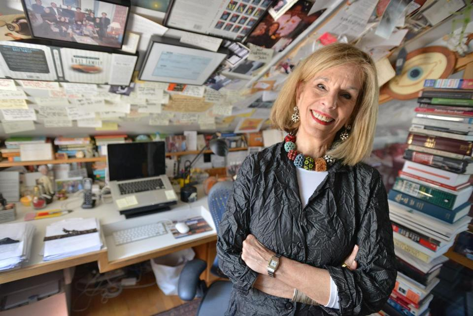 Novelist Mameve Medwed in her Boston-area writing studio, wearing my jewelry. Image courtesy Boston Globe, June 27, 2015.
