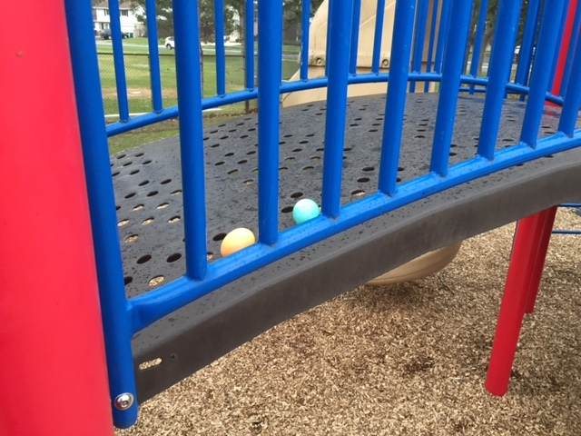 Easter eggs on playground arch march 2016.jpg