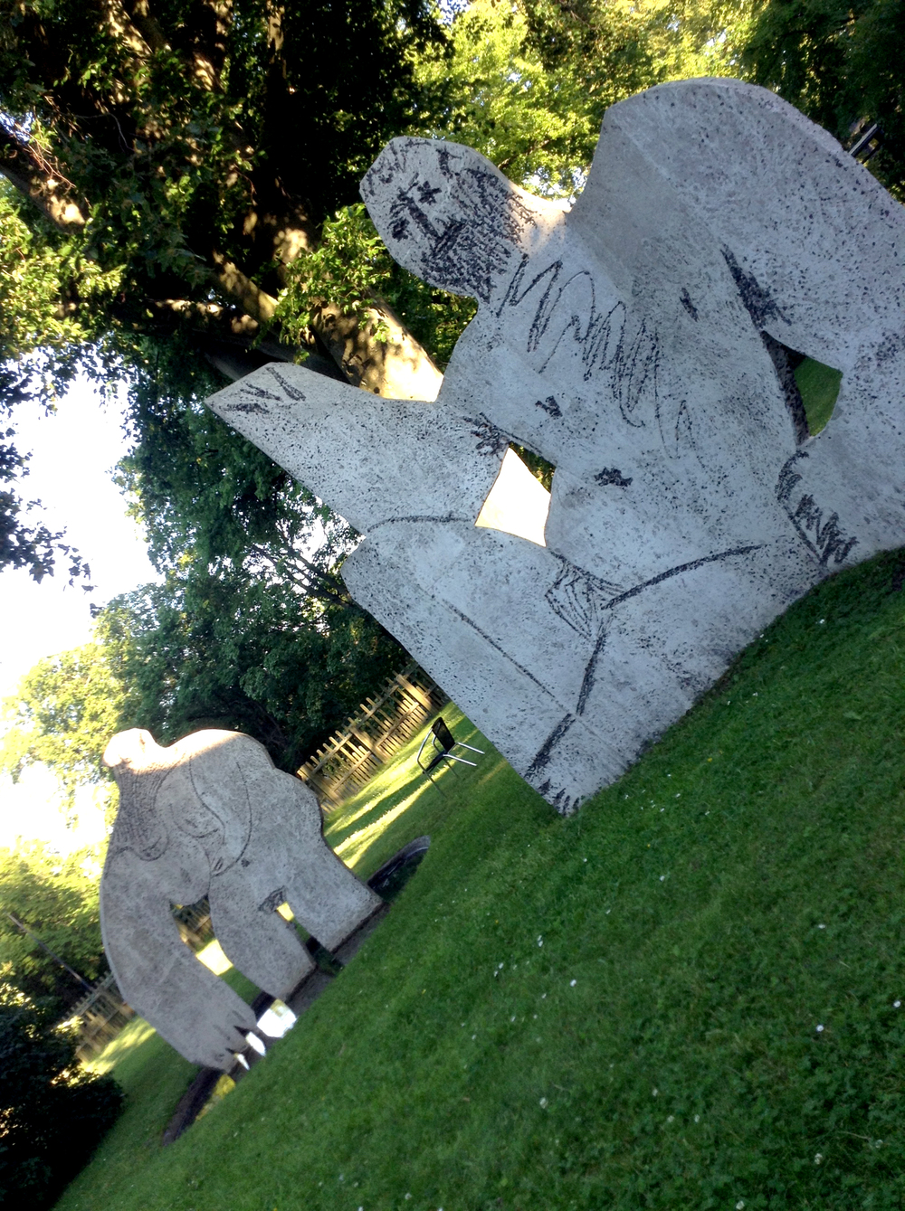 Nothing like a picnic with a bunch of massive concrete Picasso lawn nudes.