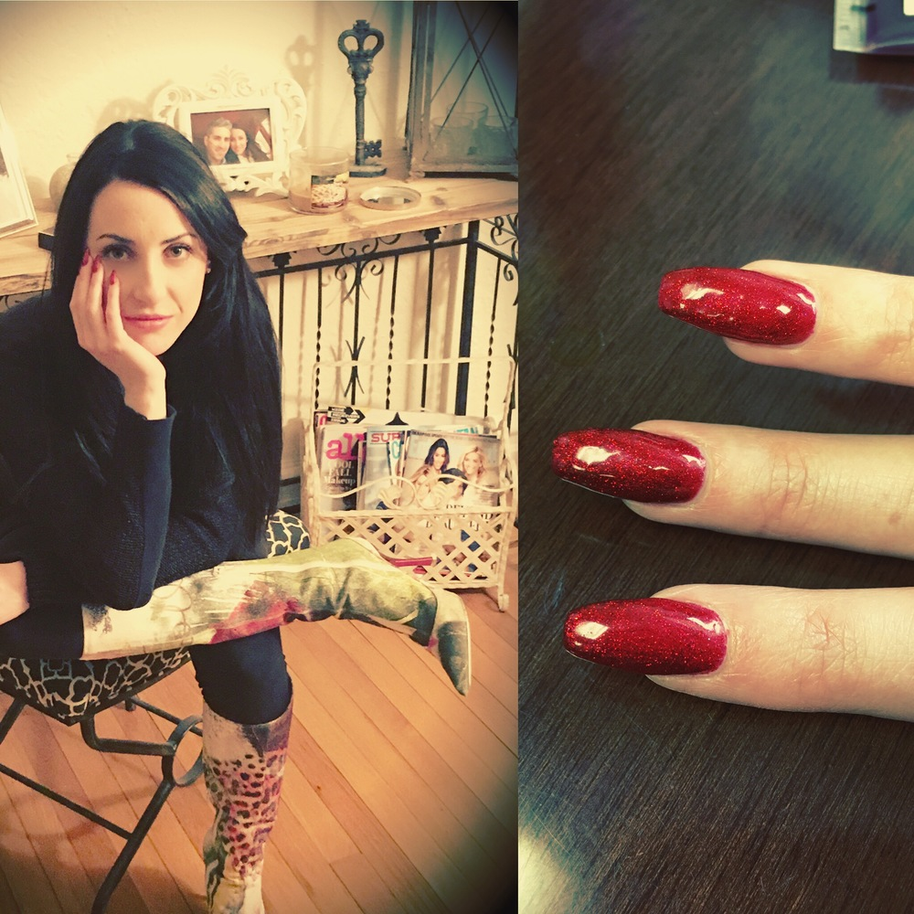 Mani Monday Valentine S Day Sparkly Red Coffin Nails Rebelle