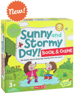 SUNNY and STORMY DAY! BOOK AND GAME  - Sunny and Stormy Day is not so much about the weather—but rather the sunny and stormy feelings that are part of everyday life. The idea here is to help children express these ups and downs and perhaps even see them as less than earth shattering, as they may seem at first flush. The book (included in the game box) pictures typical ups and downs of a child's day…the sunny time of playing ball vs the not so sunny fun moment of a ball hitting your head; the sunny time of building a block tower and the not so sunny time when it gets knocked over. To match the images in the book there is a set of cards that can be paired and talked about. The cards can be used in one game for simple matching pairs or played as a cooperative concentration game that involves memory. There are two variations of the latter game that add a new dimension to the classic matching game. There is also a little pouch designed to hold sunny and story tokens that are to be used to talk about personal ups and downs of the day. Using the book and game combo is an innovative way of playing with a very old game concept in a new and fresh way while supporting social skills and emotional feelings. 3 and up. Ages: PreschoolersOppenheim Toy Portfolio Gold Seal Award 2017Peaceable Kingdom, September 2017*Available exclusively at Target