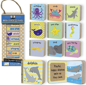 Little Ocean Books - eco-friendly, stackable, small baby board book set I illustrated for innovativeKIDS.