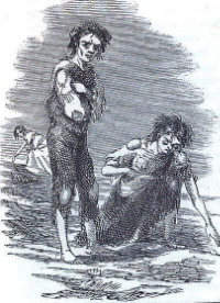 An engraving of the Great Famine in Ireland by James Mahoney