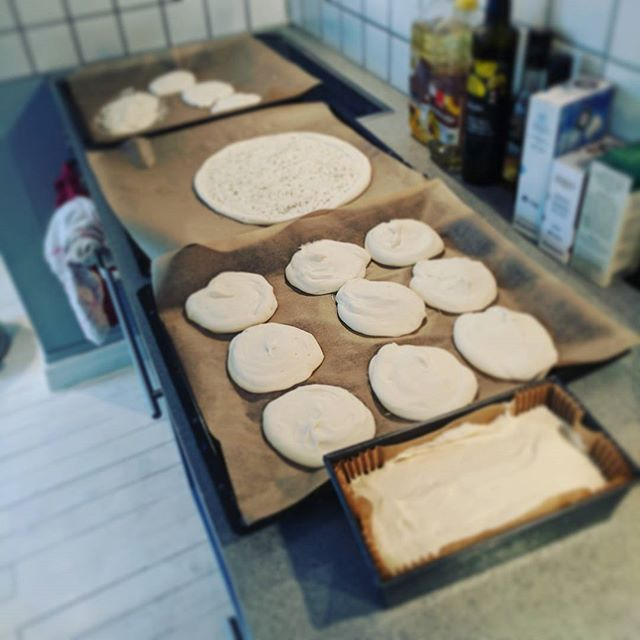 From 1kg of #glutenfree flour: 12 rolls, 1 loaf, 1 pizza base and 1 focaccia.. That's a productive bag of flour! #baking #bread #glutenfree #dairyfree and delicious! 👌💛😄