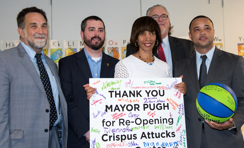 From left, University of Maryland School of Social Work Dean Richard P. Barth; Councilman Eric T. Costello; Baltimore Mayor Catherine E. Pugh; Bob Wall, chief of recreation, Baltimore City Recreation & Parks; and Del. Antonio L. Hayes.