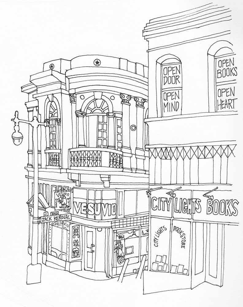 Ryan Yount's hand-drawn line illustration of Cookhouse from the outside, with the balcony door half open, and showing some of the external columns, rosettes, and architectural detail. The iconic bar Vesuvio is just downstairs, adjoining Jack Kerouac Alley and City Lights Bookstore.
