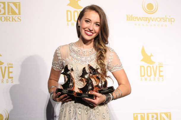 Daigle with her three Dove Awards for New Artist of the Year, Song of the Year and Pop/Contemporary Song of the Year – Photo Credit: Getty Images