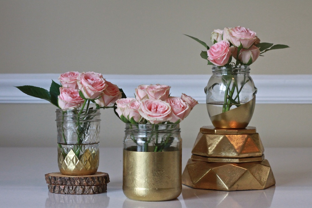 Hand painted jars make really pretty vases!