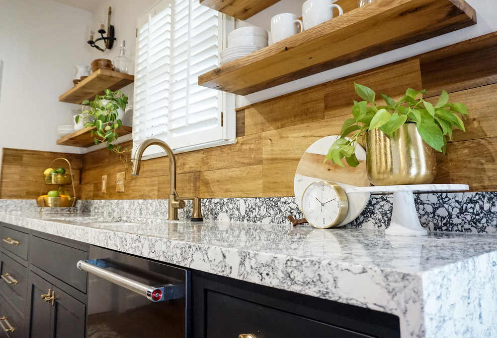 "Cambria Quartz countertop. Design: Rosedale 2"" mitered edge; waterfall edge."